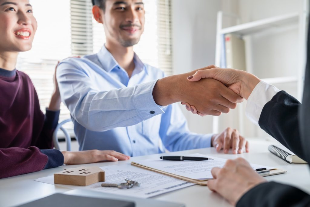 Asian Young Family Couple Handshake With Property Real Estate Ag