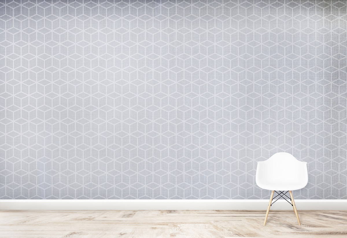 White Chair Against A Cubic Wall Room Mockup