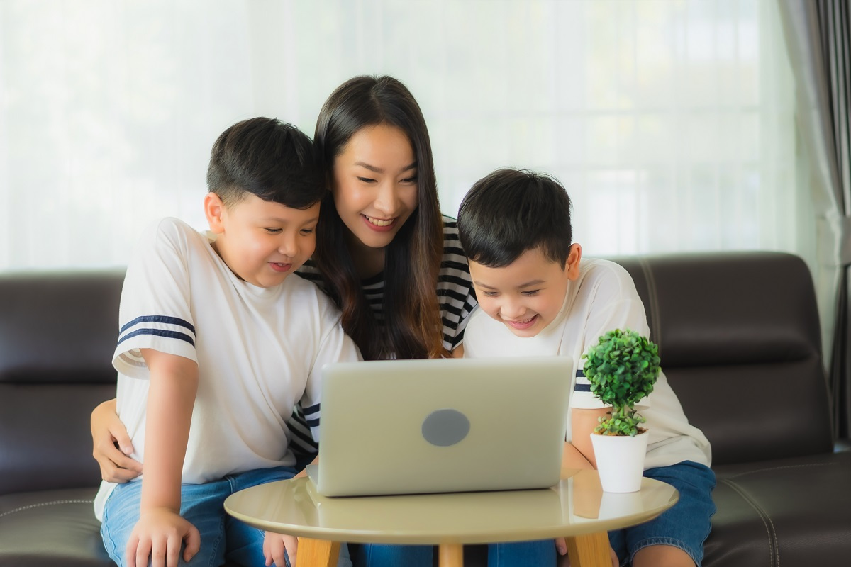 Beautiful Young Asian Woman Mom With 2 Her Son Use Laptop Or Com